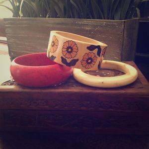 Set of 3 Wooden Bangle Bracelets